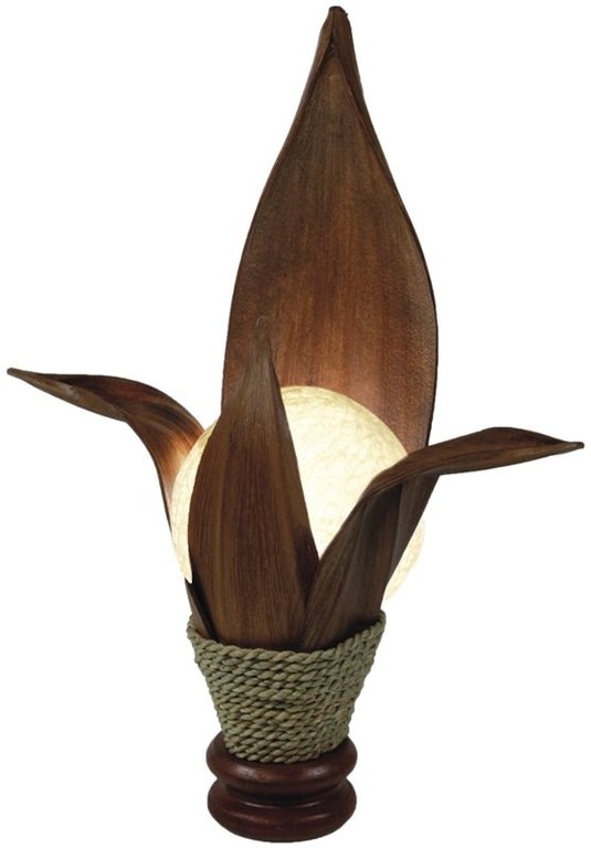 lotus lampe aus kokos palmholz 40 cm. Black Bedroom Furniture Sets. Home Design Ideas