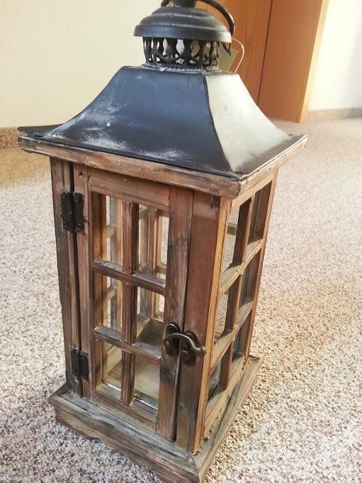 holzlaterne antik braun sehr gross. Black Bedroom Furniture Sets. Home Design Ideas